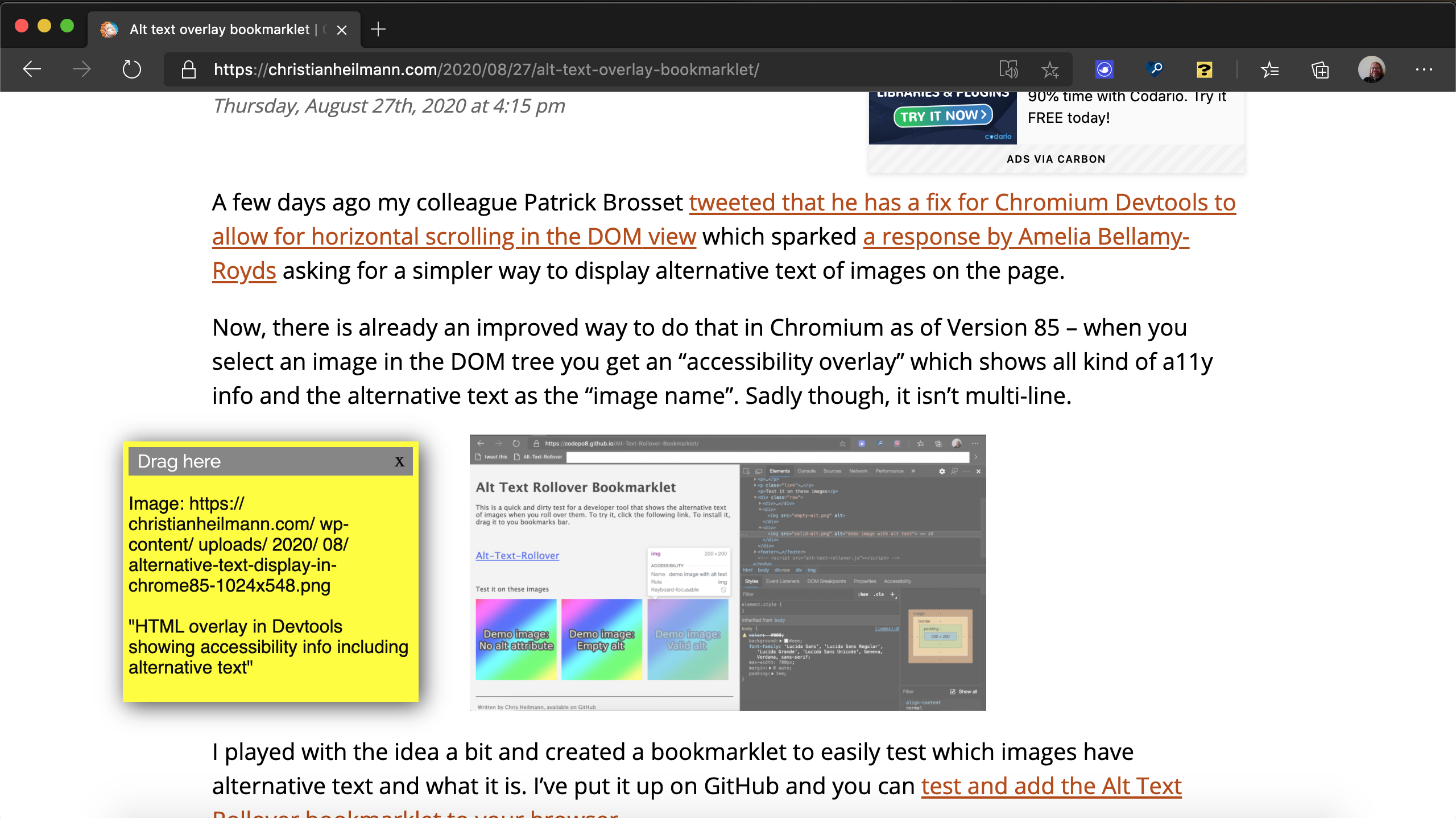 Christian Heilmann's blog with the sticky note overlay