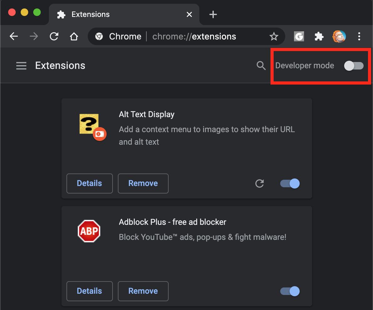 Turning on developer mode for extensions in Google Chrome