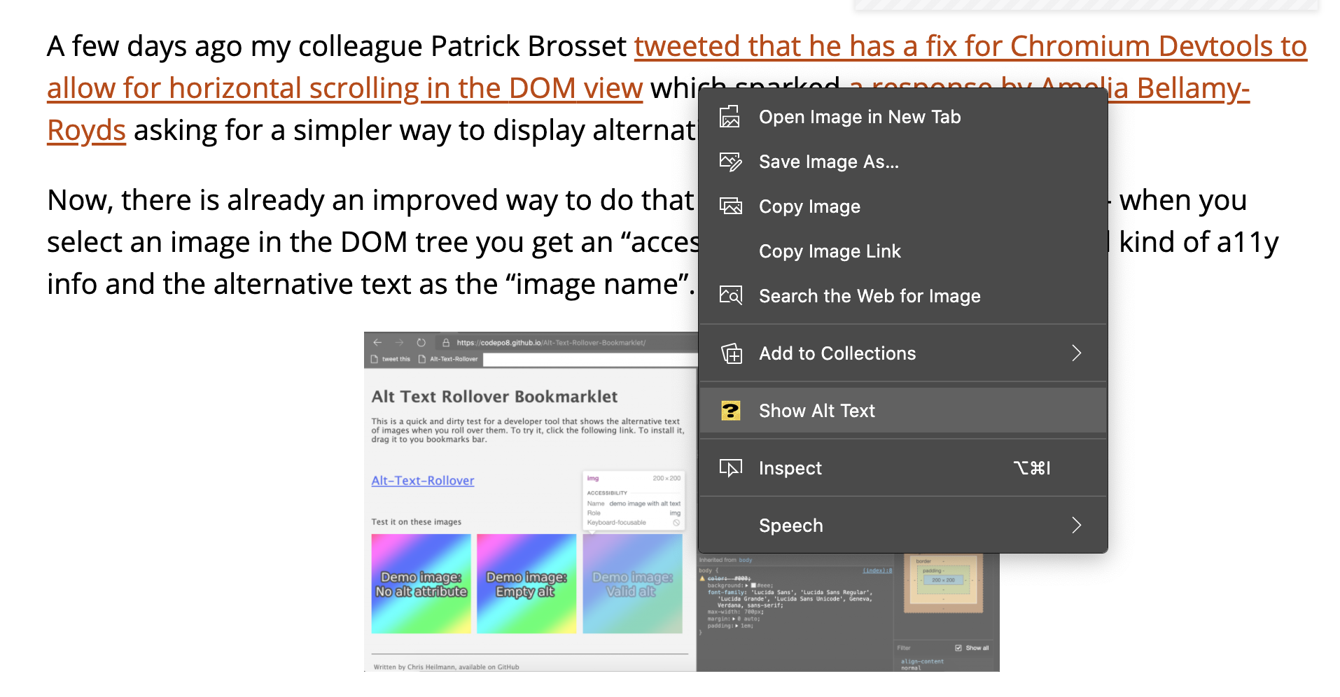 New menu item in the context menu on images