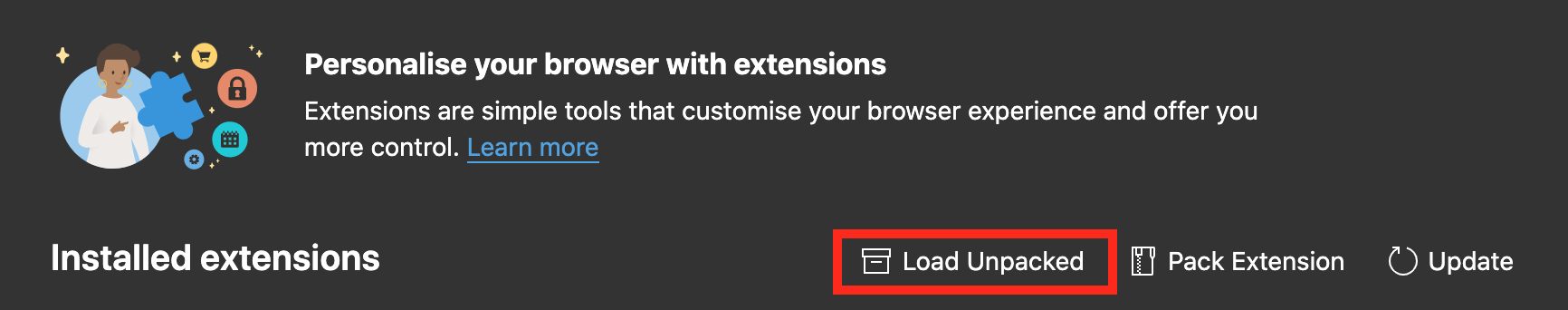 Loading an unpacked extension in Microsoft Edge