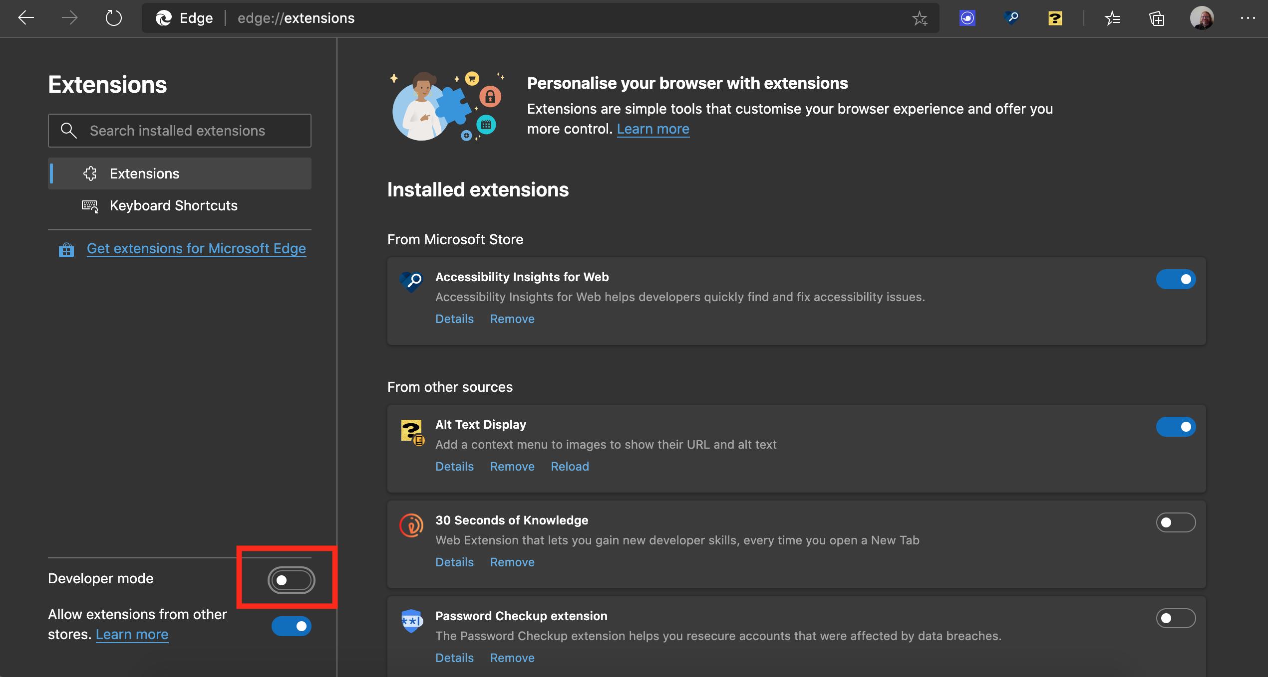 Turning on developer mode for extensions in Microsoft Edge